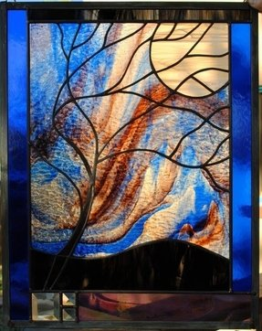 Stained glass window panel moonlit tree
