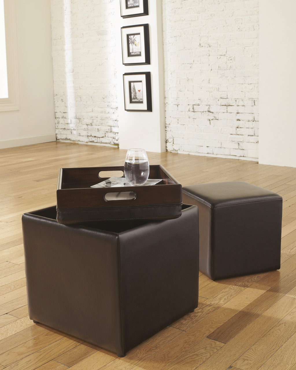 Storage Ottoman Cube With Tray