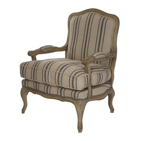 Striped french arm chair