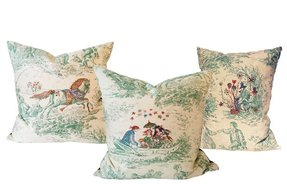 Toile throw pillows 4