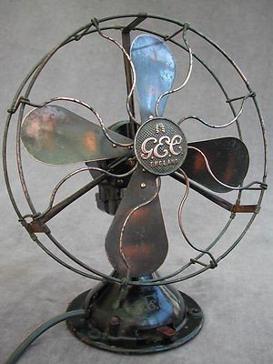 Vintage Art Deco Gec Electric Table Desk Fan Brass Blades 2 Speed Oscillating