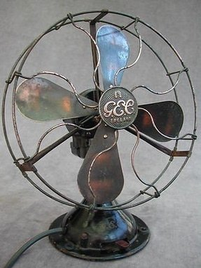 Vintage art deco gec electric table desk fan brass blades