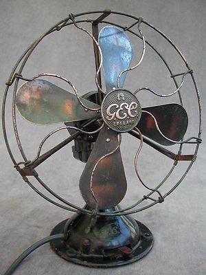 Vintage Art Deco Gec Electric Table Desk Fan Brass Blades