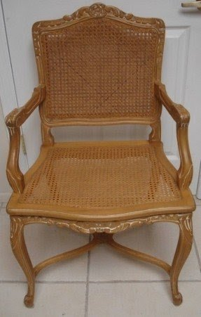 Merveilleux Vintage French Country Wood Cane Armchair