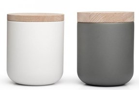 White canisters with wooden lids