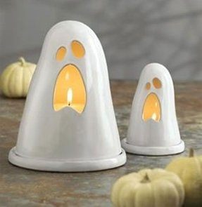 White ceramic candle holders 3