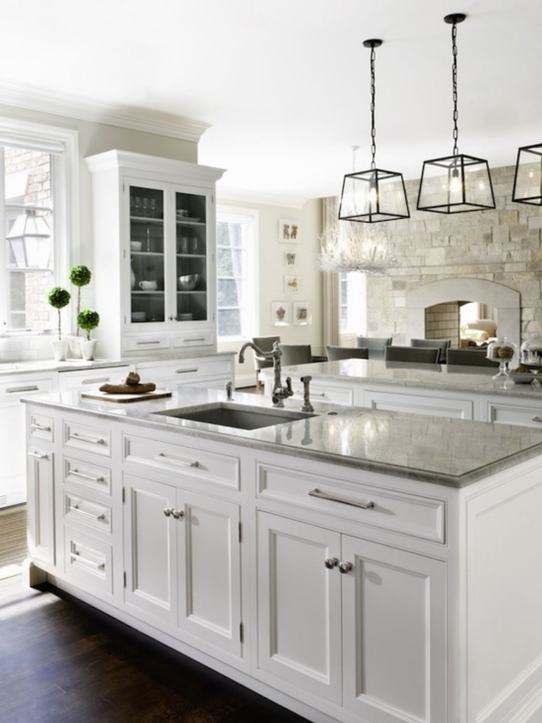 Genial White Kitchen Island With Granite Top