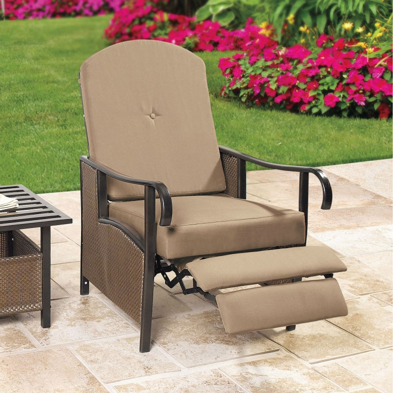 Cushioned Reclining Arm Chair For Outdoor Use; It Distinguishes Itself With  A Particularly Wide Seat. Metal Frame Is Wrapped With Brown Resin Wicker  Weave, ...
