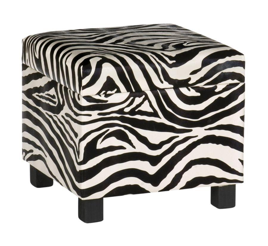 Charmant Wilson Zebra Storage Cube Ottoman