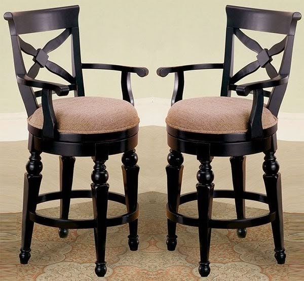 Gentil York Cottage Black Wood 24 Counter Height Swivel Arm Chairs