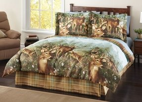 4 pc woodland deer creek wildlife comforter set bed in
