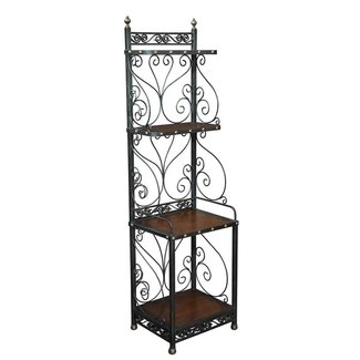 Baker rack old wood iron french walnut tall 73 narrow