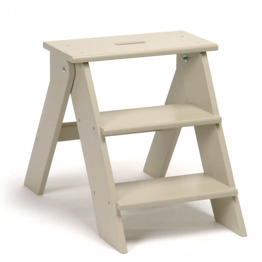 Betty twyford wooden step stool folding kitchen stool in chalk