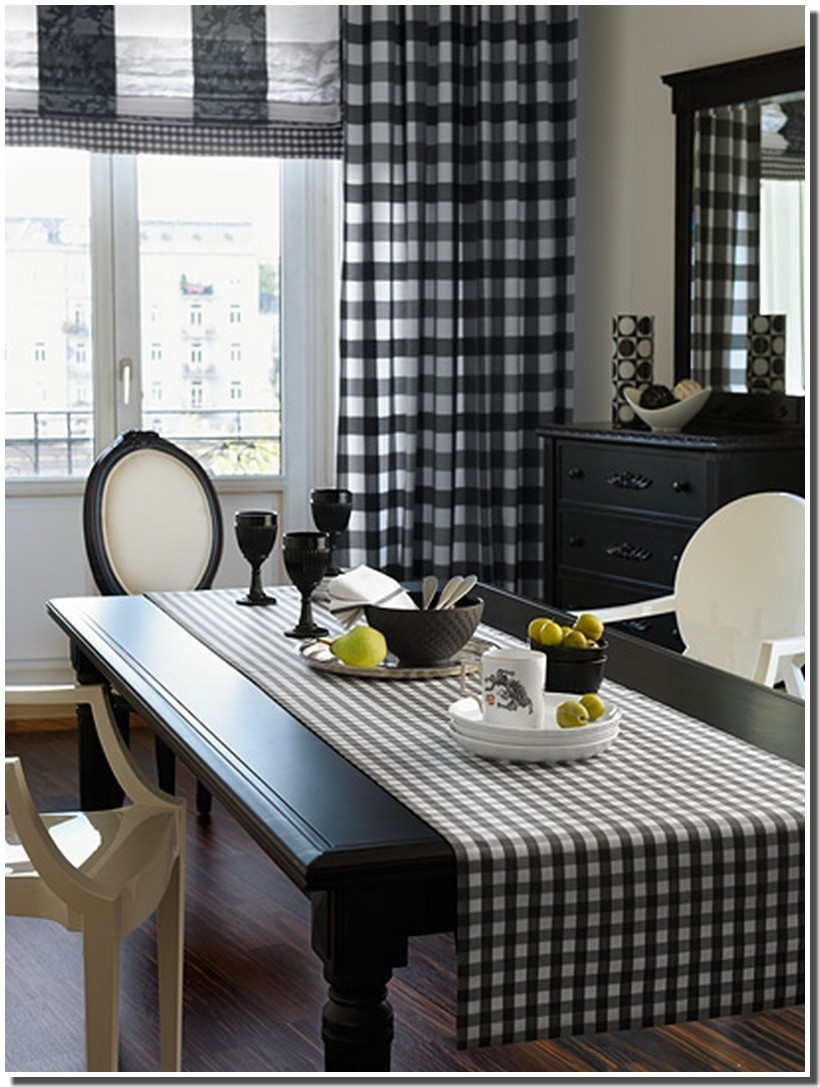 Black and white buffalo check curtains