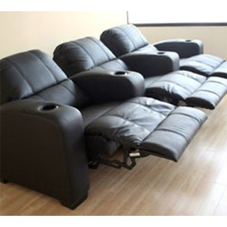 Black leather 3 seat recliner home theater seating 3