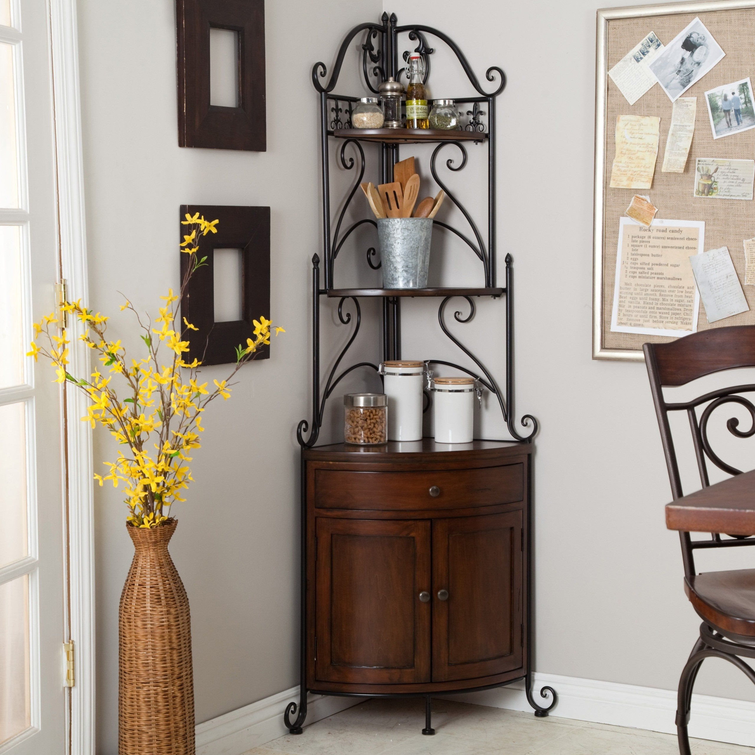Corner wrought iron bakers rack metal wood kitchen cabinet shelf & Wrought Iron Corner Shelf - Foter