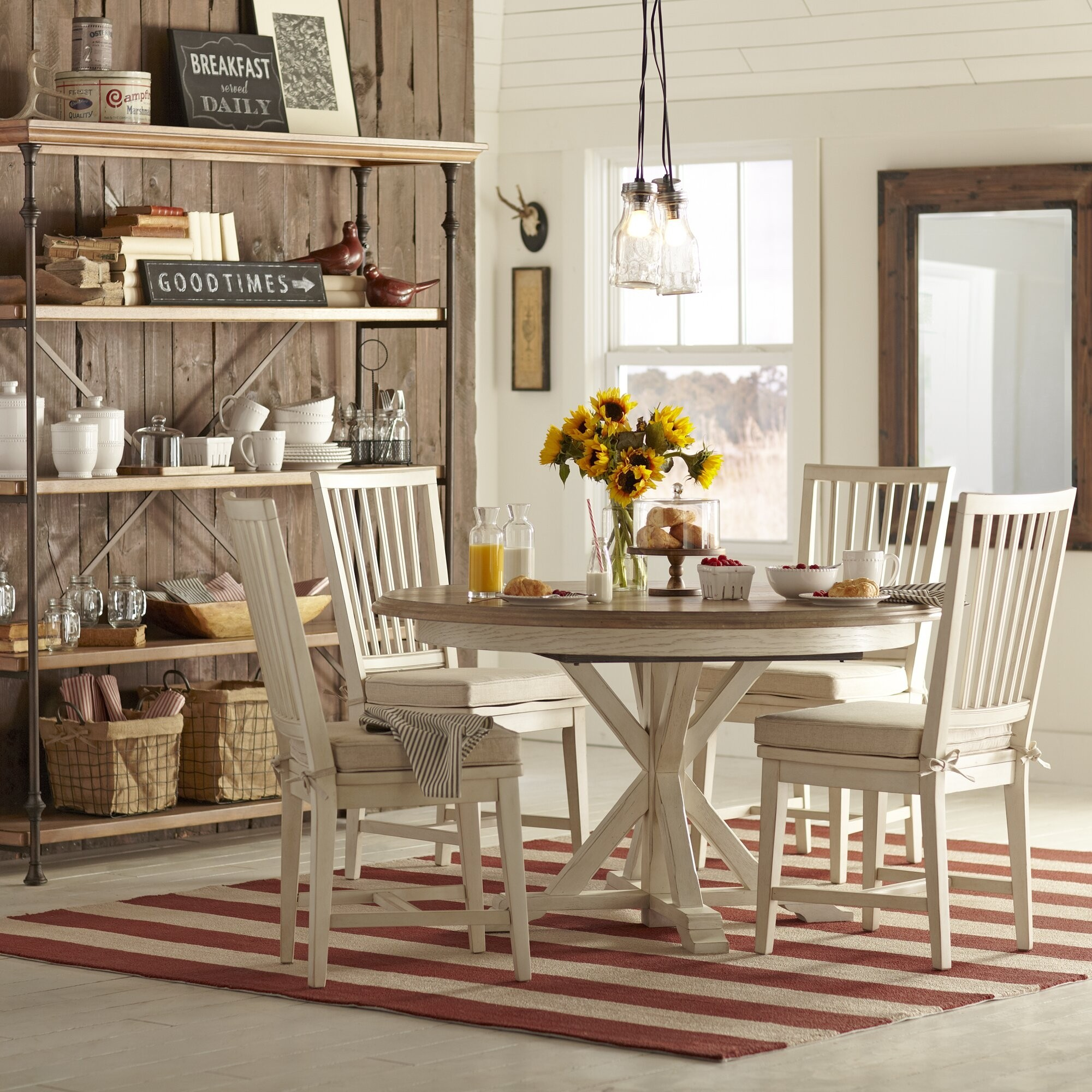 Merveilleux Country Kitchen Rustic Cabin Oak Wood Cottage Dining Table