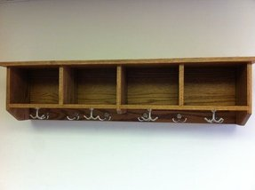 Entryway shelf with cubbies and coat 1