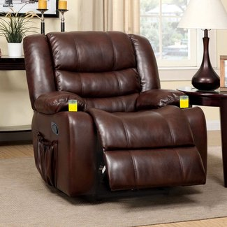 Furniture Of America Plus Bonded Leather Match Recliner With Duo