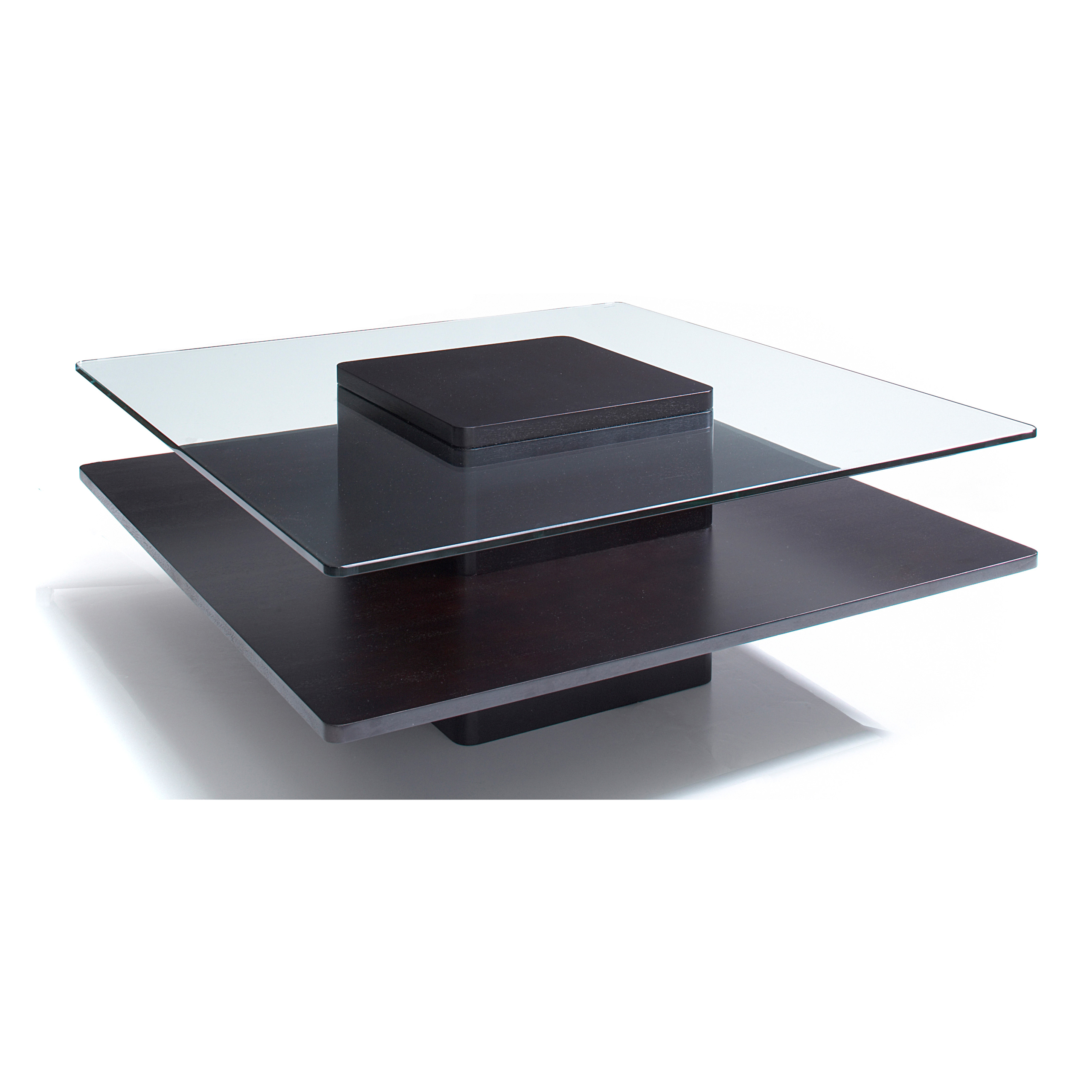 Glass Dark Coffee Wood 40 Inch Coffee Table