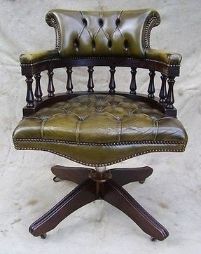 Green leather desk chair 2