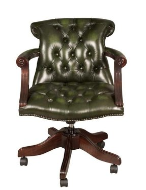 Surprising Green Leather Desk Chair Ideas On Foter Machost Co Dining Chair Design Ideas Machostcouk