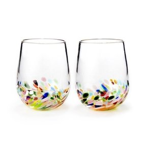 Hand blown stemless wine glasses 1
