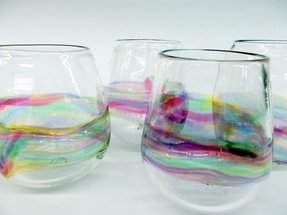Hand blown stemless wine glasses 8