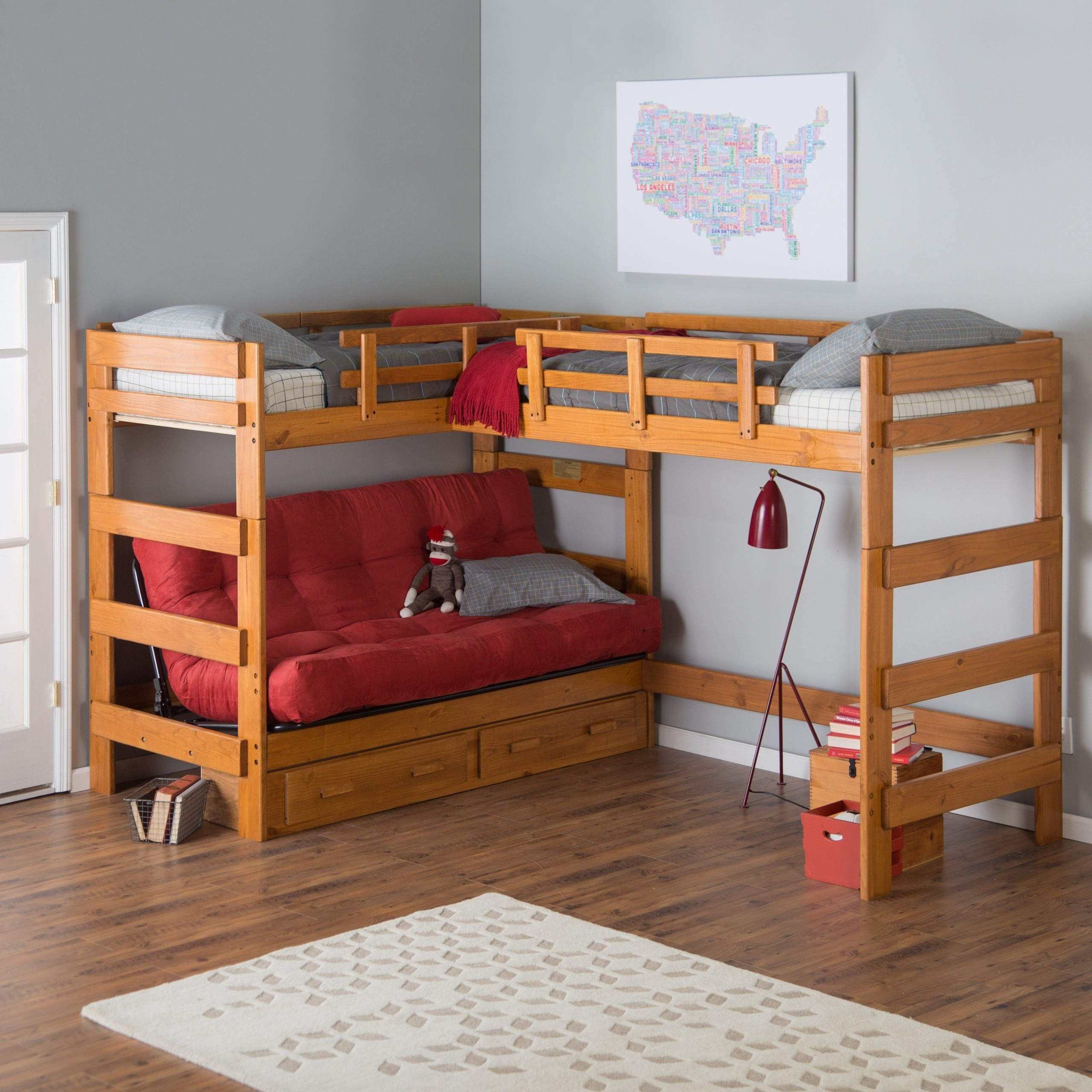Heartland futon bunkbed with extra loft plus underbed storage