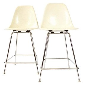 Herman miller white fiberglass bar stools a pair