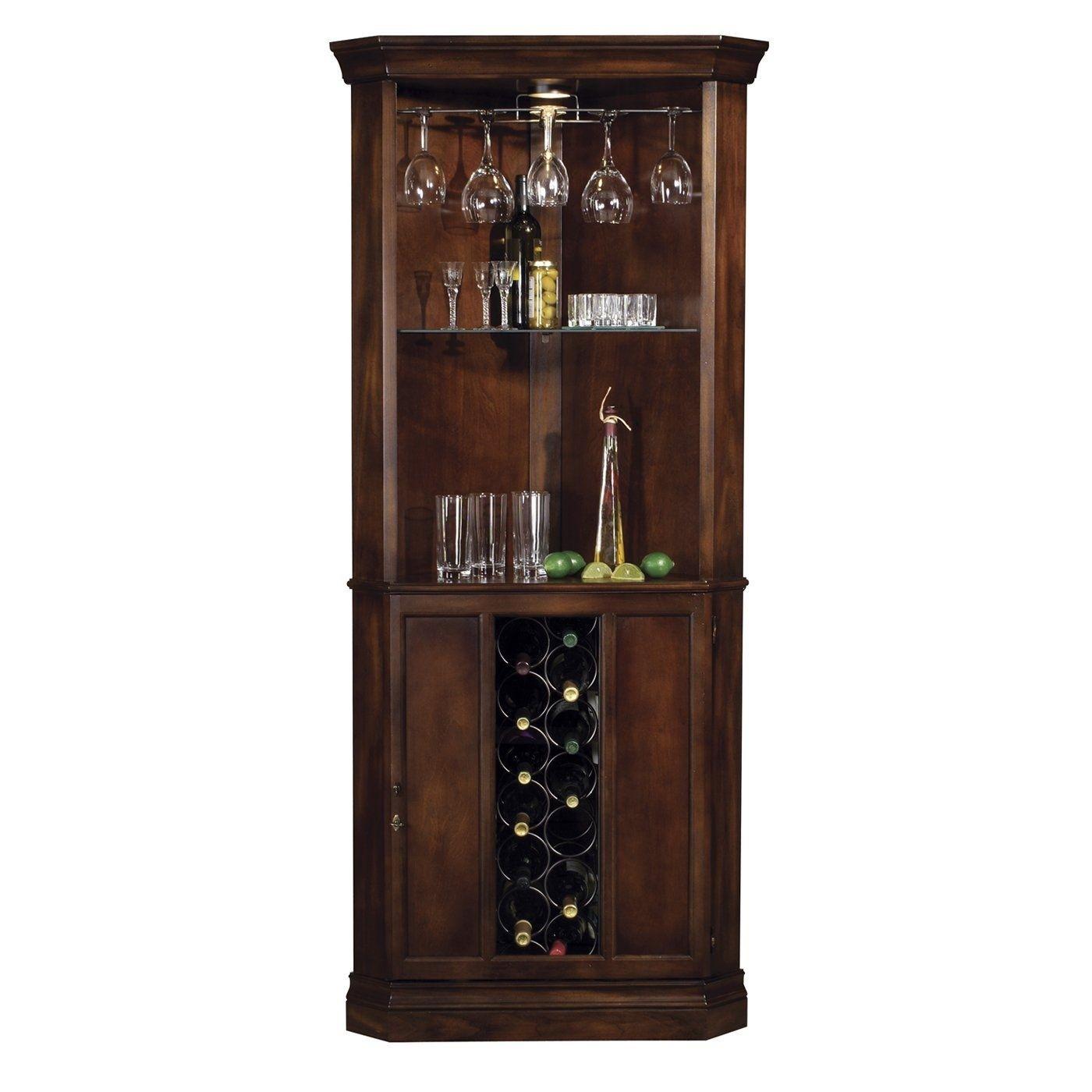 Howard Miller Piedmont Rustic Cherry Finished Corner Home Bar U0026 Liquor  Cabinet   690000