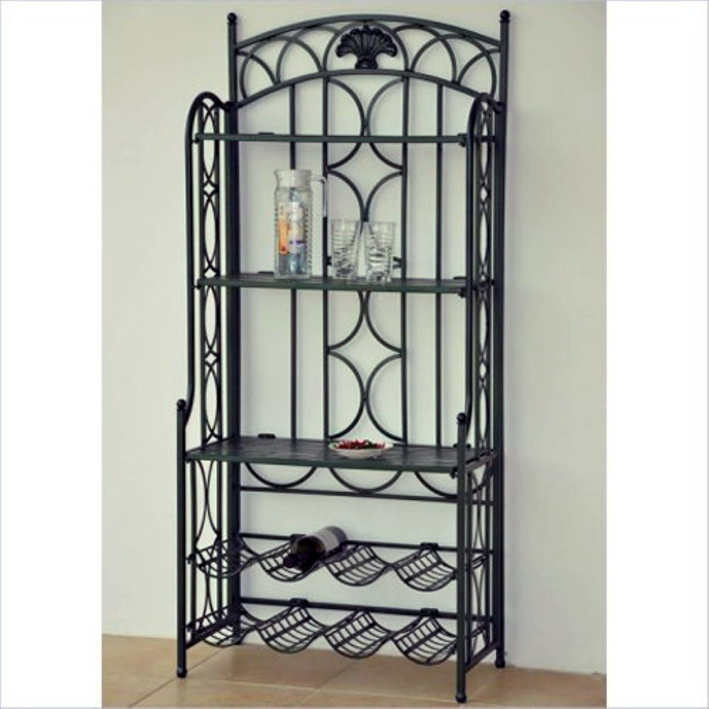 International Caravan International Caravan Chelsea Indoor/Outdoor Wrought  Iron Wine Rack Bakers Rack   Pewter