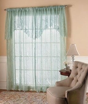 Lace curtain with attached valance 60 x63 sage burgundy or