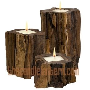 Large wood candle holders 14