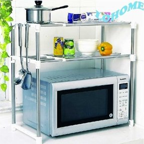 LOHOME (TM) Double Design Stainless Steel Microwave Oven Rack Multi-function Kitchen Shelves Shelf Storage Rack Adjustable with Side Hook