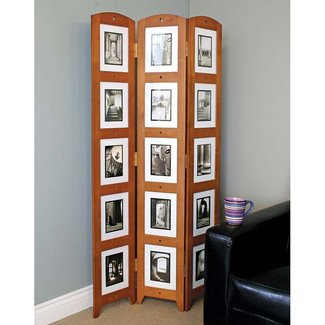 nexxt Triple Panel Standing Floor Screen/Frame, 33 by 64.5-Inch, Chestnut