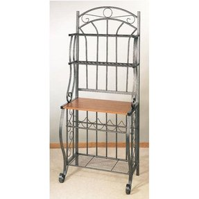 Old Dutch Pewter Baker's Rack with Wine Rack, 27-1/4 by 16 by 68-Inch