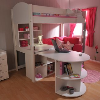Pink futon bunk bed with desk