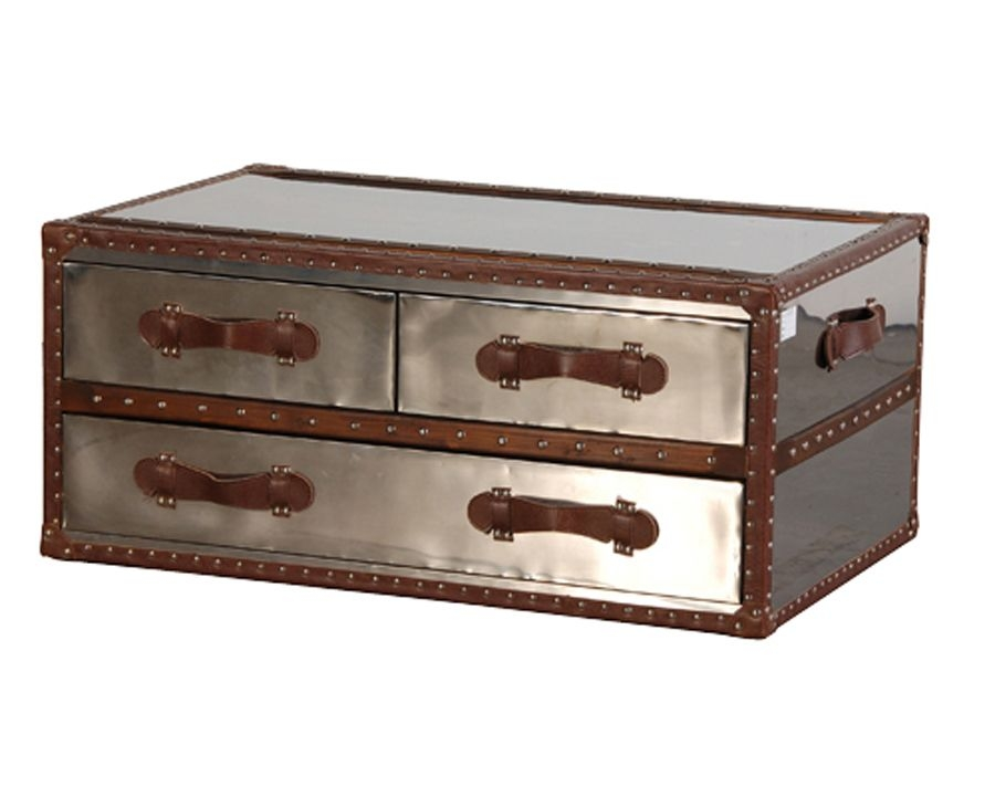Silver Metal Trunk Coffee Table 350