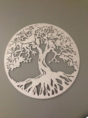 Silver round tree of life industrial