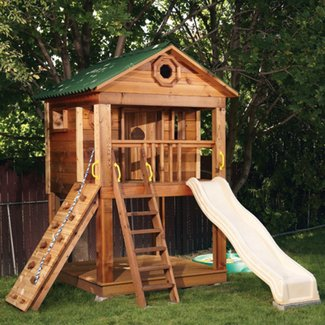 Slide tower playhouse