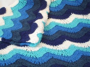 Small ocean waves crochet blanket in