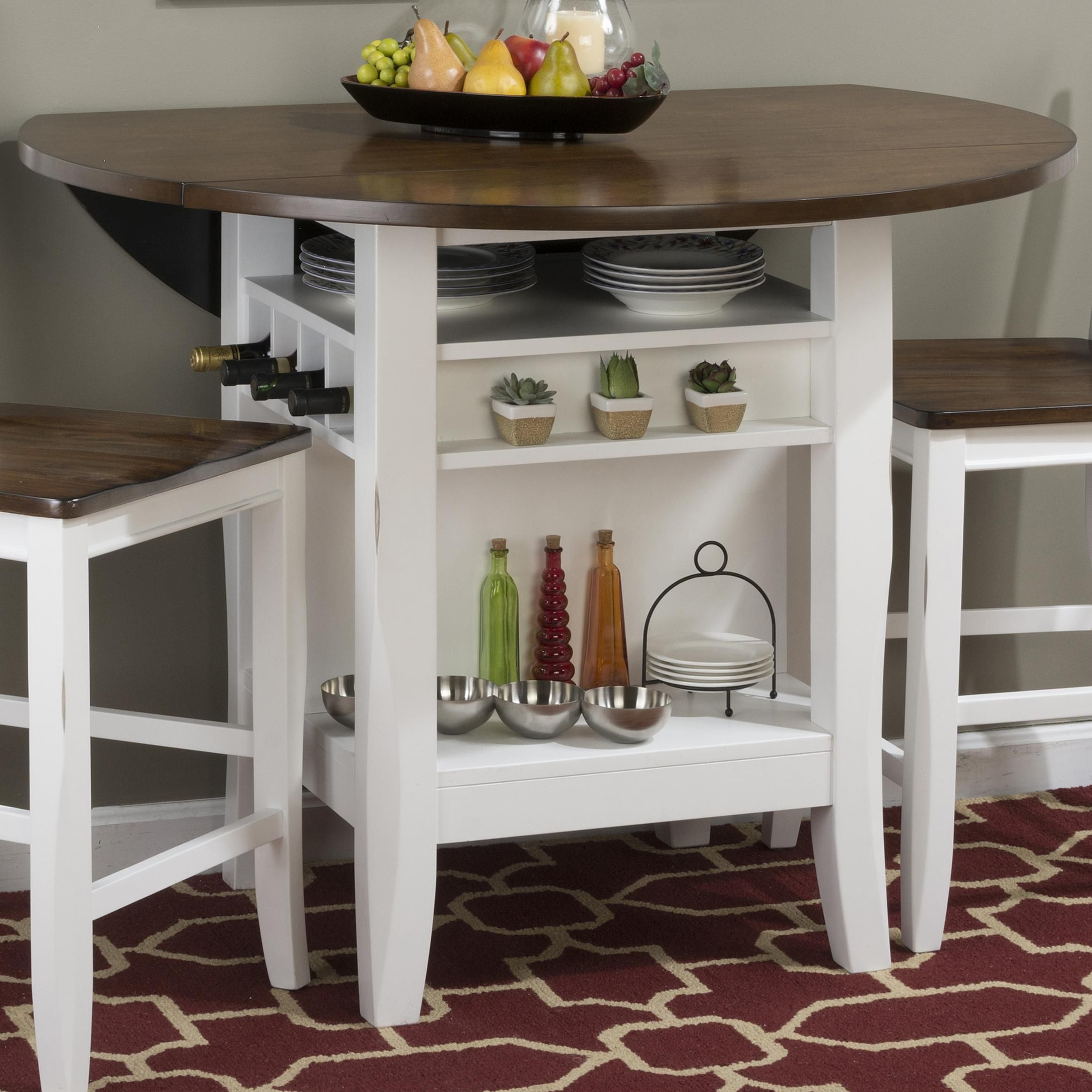 round counter height table with leaf foter
