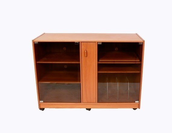 Teak stereo cabinet with glass doors