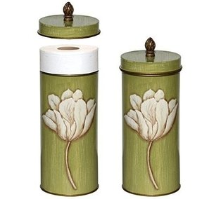 Toilet Paper Holder Standing Holds 2 Rolls Toilet Paper Bathroom Accessory for Storage Ivory Tulips