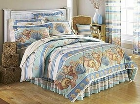 Twin tropical nautical sea shell seashell beach ocean stripe comforter
