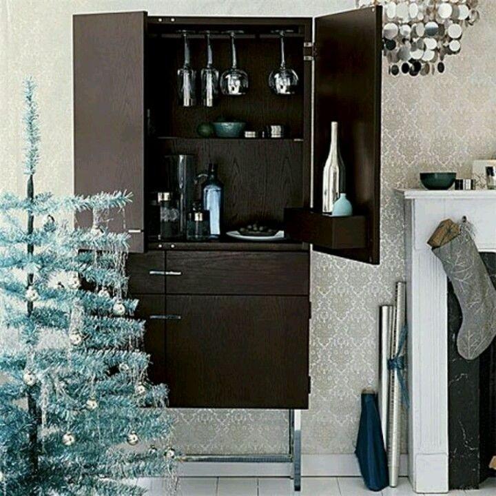 Wood Liquor Cabinet