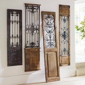 Wrought iron wall scrolls