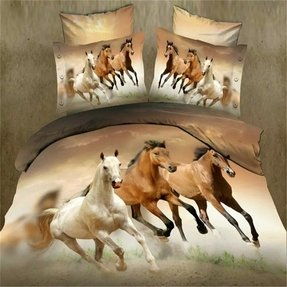3d Oil Painting Animal 3 Horses Win Success Immediately Upon Arrival 4pcs Bedding Sets,cotton Material Beautiful Creative 3d Bedding Sets Queen Size Christmas Gifts