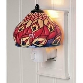 "4.25"" Multi-Colored Lily Antique-Style Lamp Shade Ceramic Night Light"